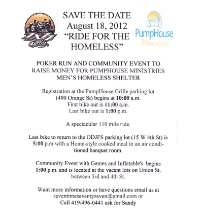 """Ride for the Homeless"" Poker Run, August 18th 2012"